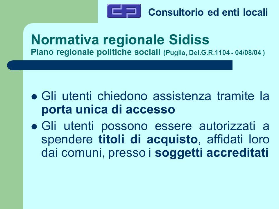 Normativa regionale Sidiss Piano regionale politiche sociali (Puglia, Del.G.R.1104 - 04/08/04 )
