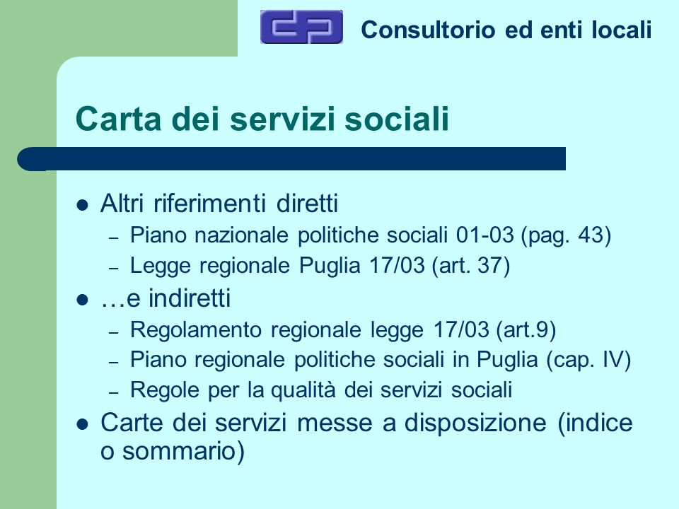 Carta dei servizi sociali