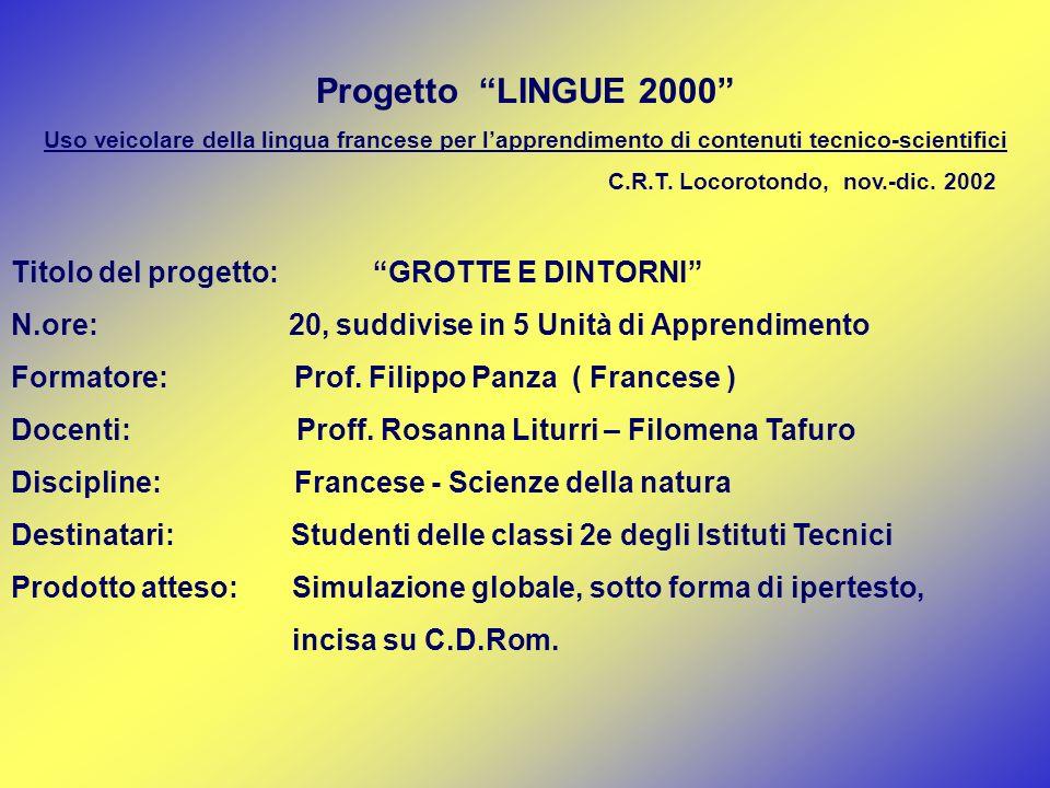 Progetto LINGUE 2000 Titolo del progetto: GROTTE E DINTORNI