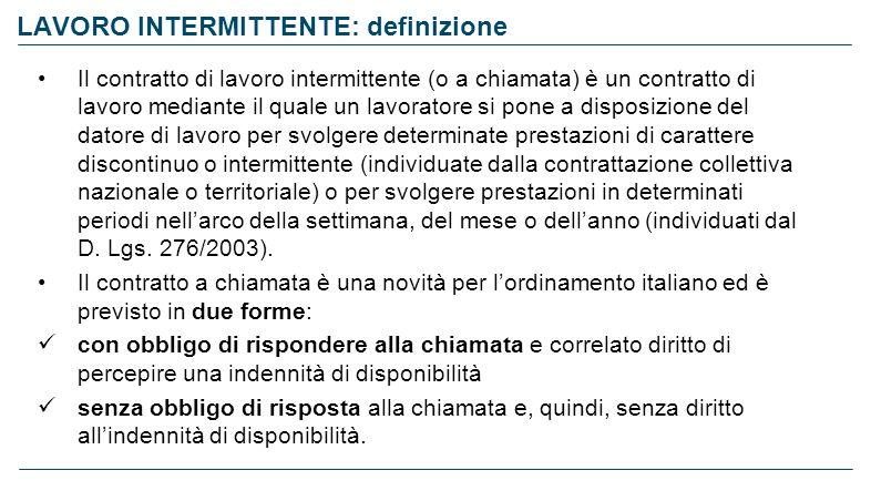 LAVORO INTERMITTENTE: definizione