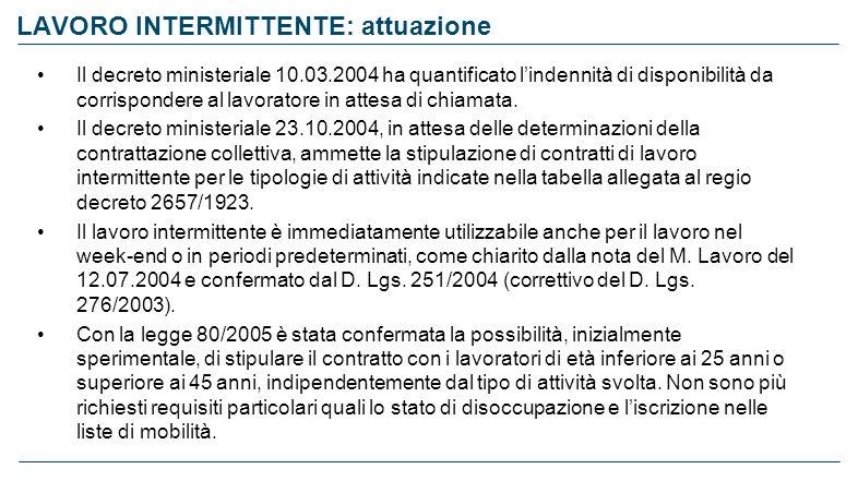 LAVORO INTERMITTENTE: attuazione