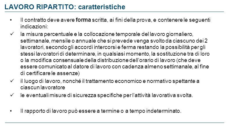 LAVORO RIPARTITO: caratteristiche