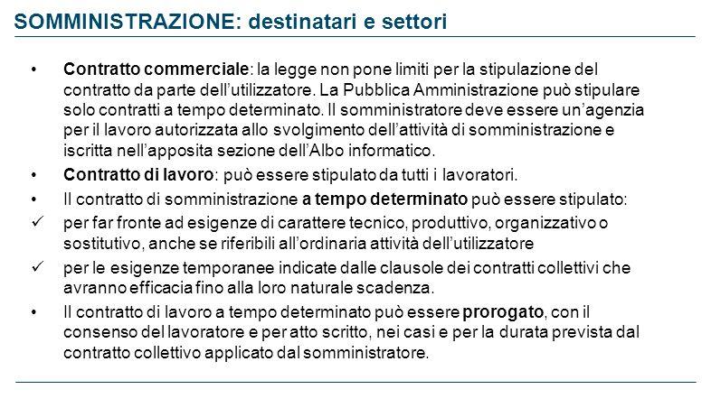 SOMMINISTRAZIONE: destinatari e settori