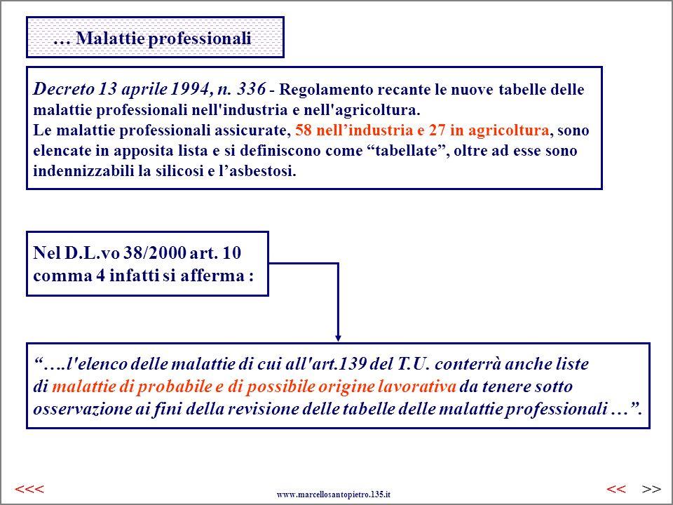 … Malattie professionali