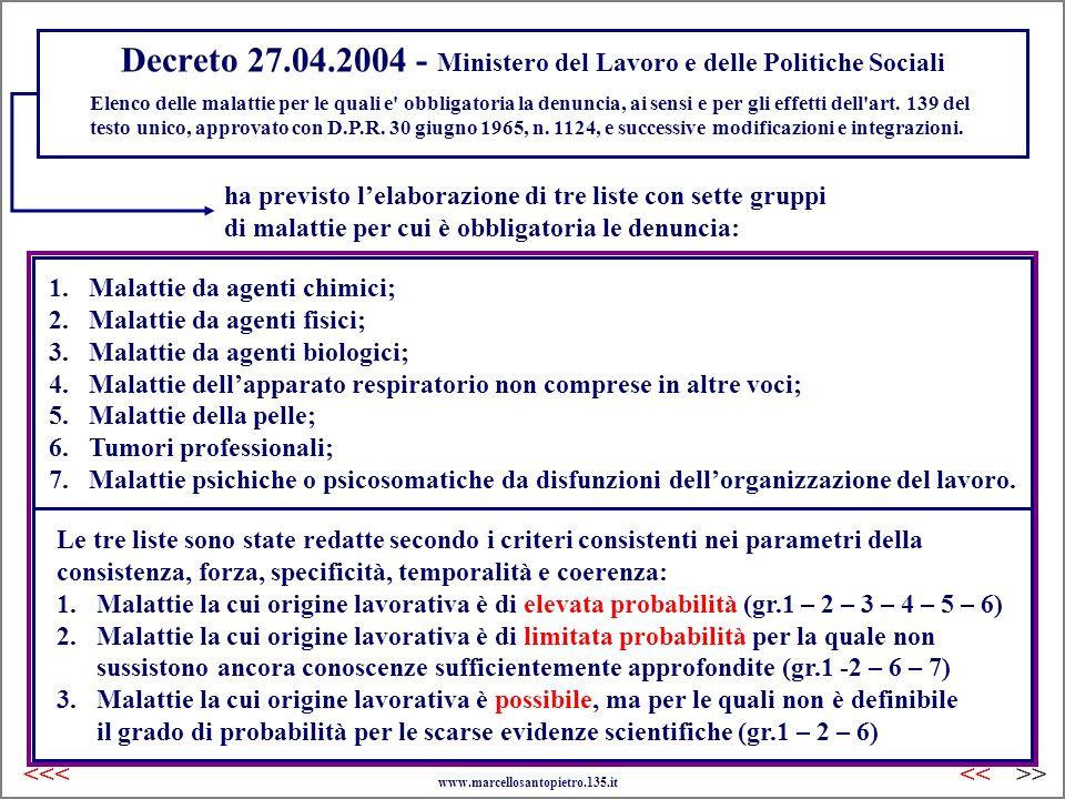 Decreto 27.04.2004 - Ministero del Lavoro e delle Politiche Sociali