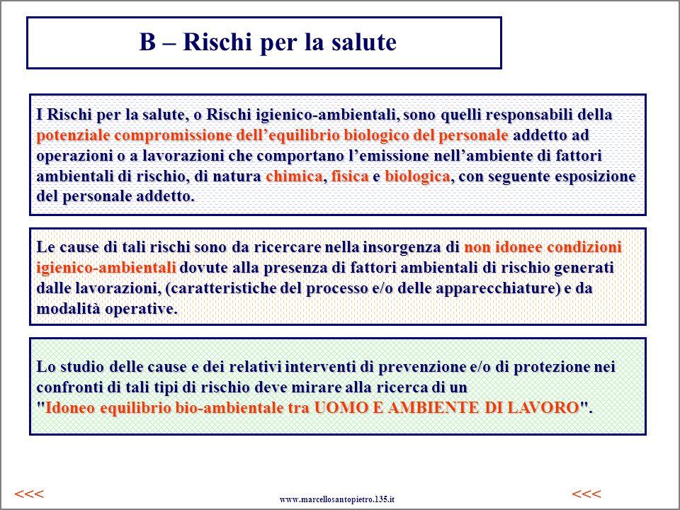 B – Rischi per la salute I Rischi per la salute, o Rischi igienico-ambientali, sono quelli responsabili della.