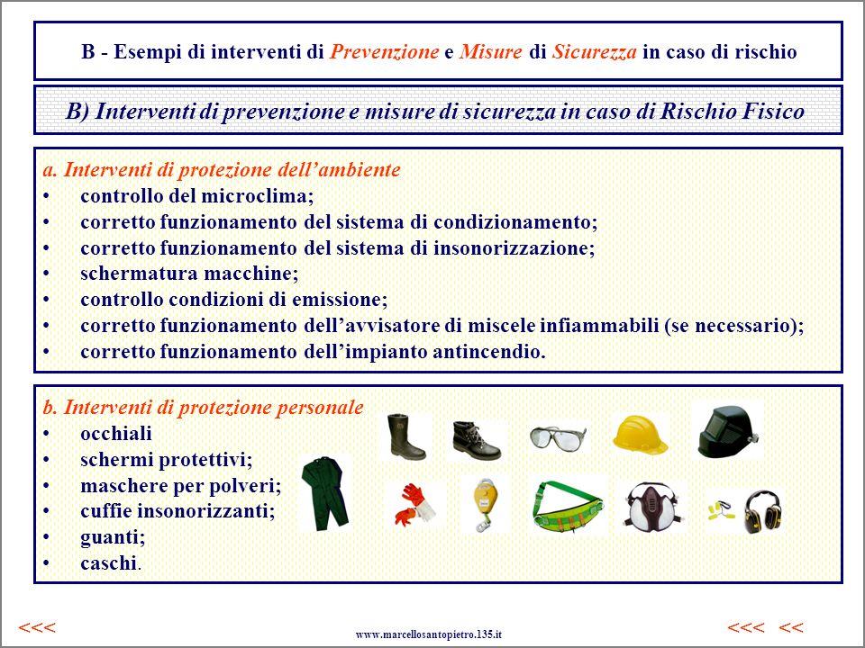 B - Esempi di interventi di Prevenzione e Misure di Sicurezza in caso di rischio