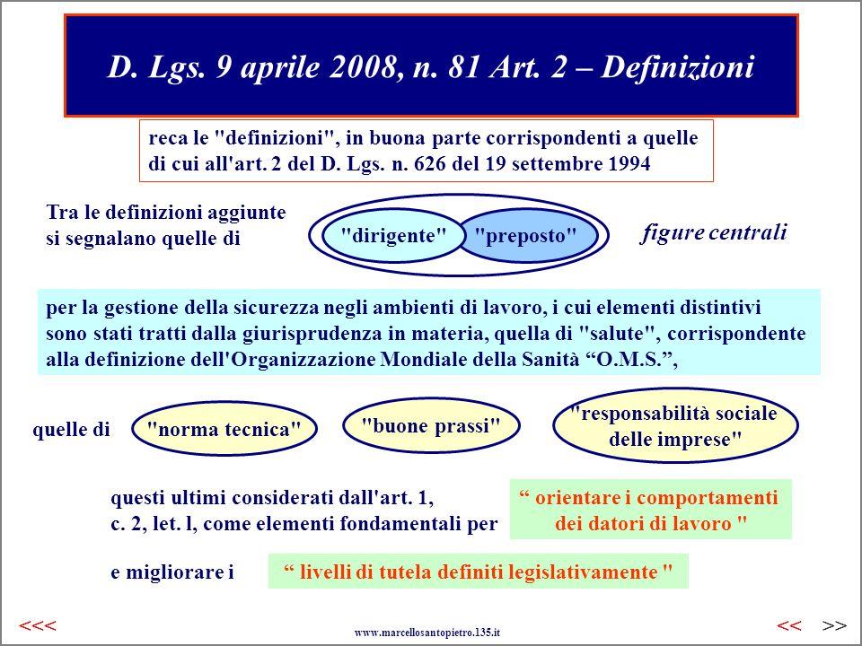 D. Lgs. 9 aprile 2008, n. 81 Art. 2 – Definizioni