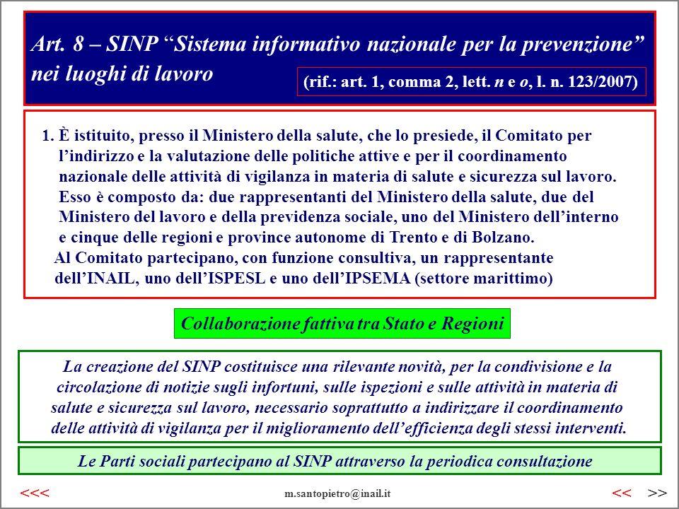 Art. 8 – SINP Sistema informativo nazionale per la prevenzione nei luoghi di lavoro