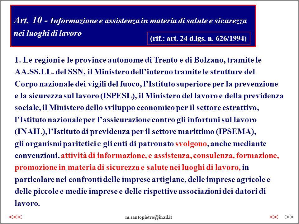 Art. 10 - Informazione e assistenza in materia di salute e sicurezza nei luoghi di lavoro