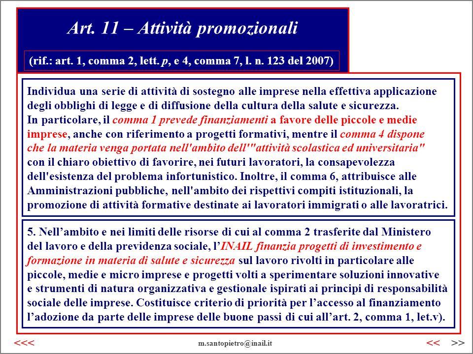 Art. 11 – Attività promozionali