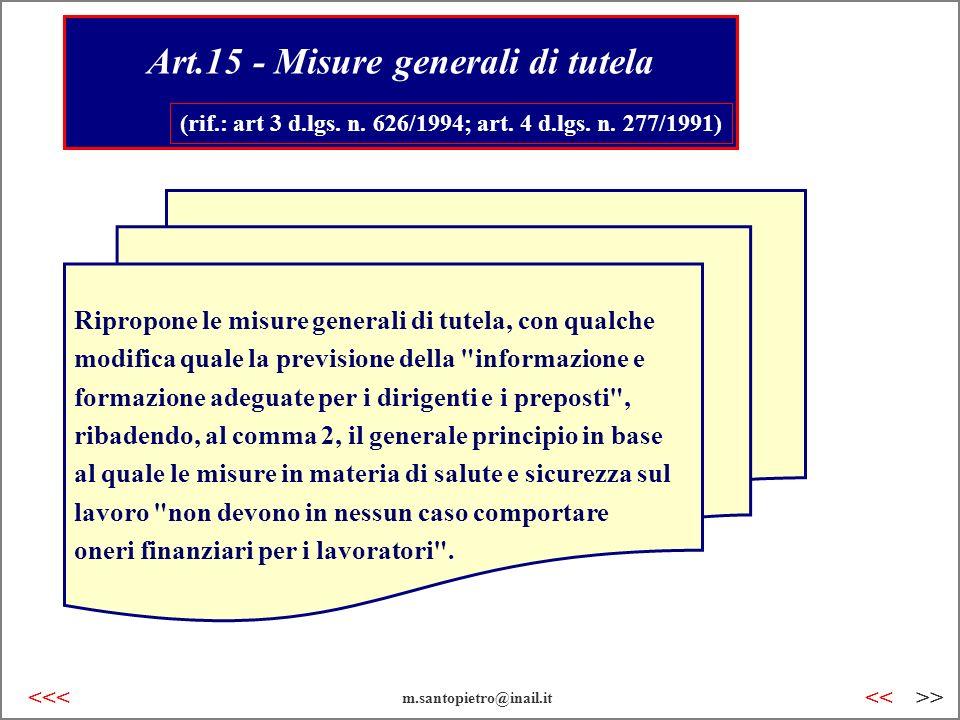 Art.15 - Misure generali di tutela