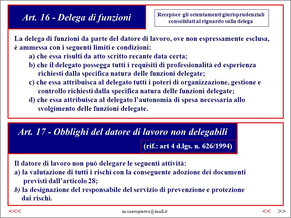 Art. 16 - Delega di funzioni