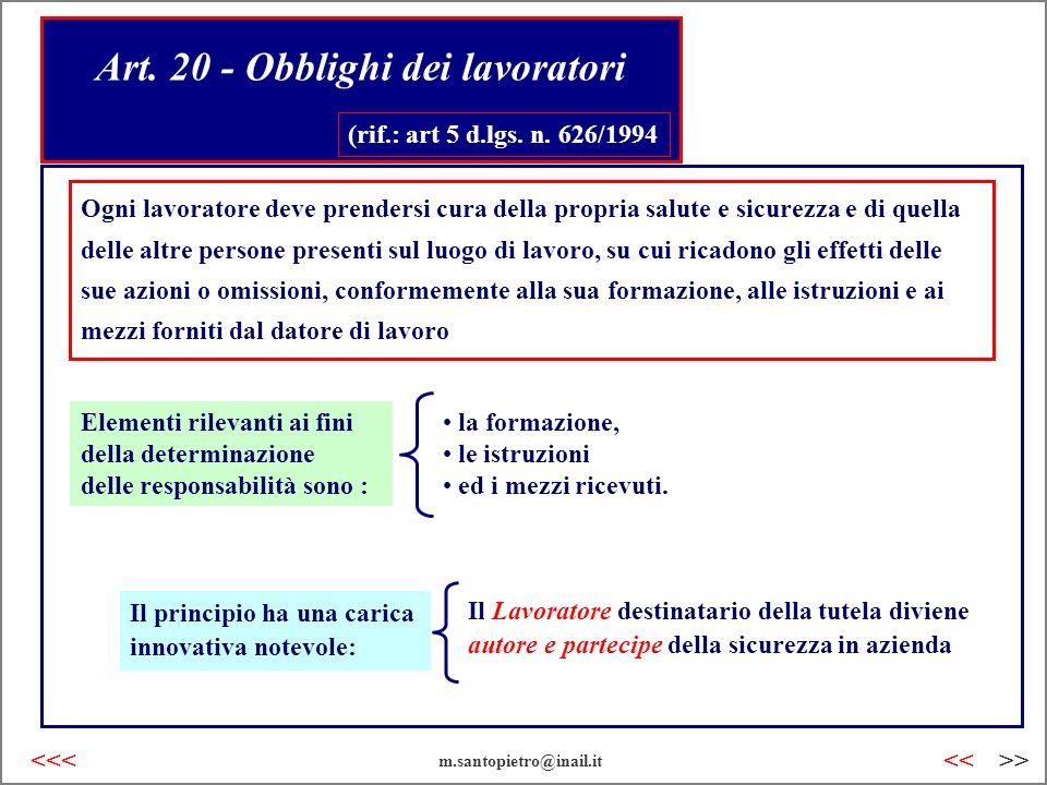 Art. 20 - Obblighi dei lavoratori