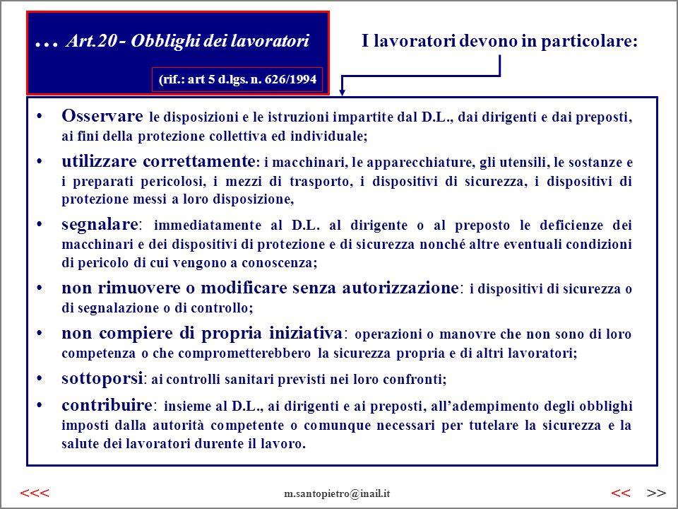 … Art.20 - Obblighi dei lavoratori