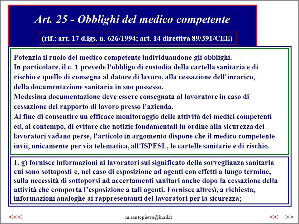 Art. 25 - Obblighi del medico competente