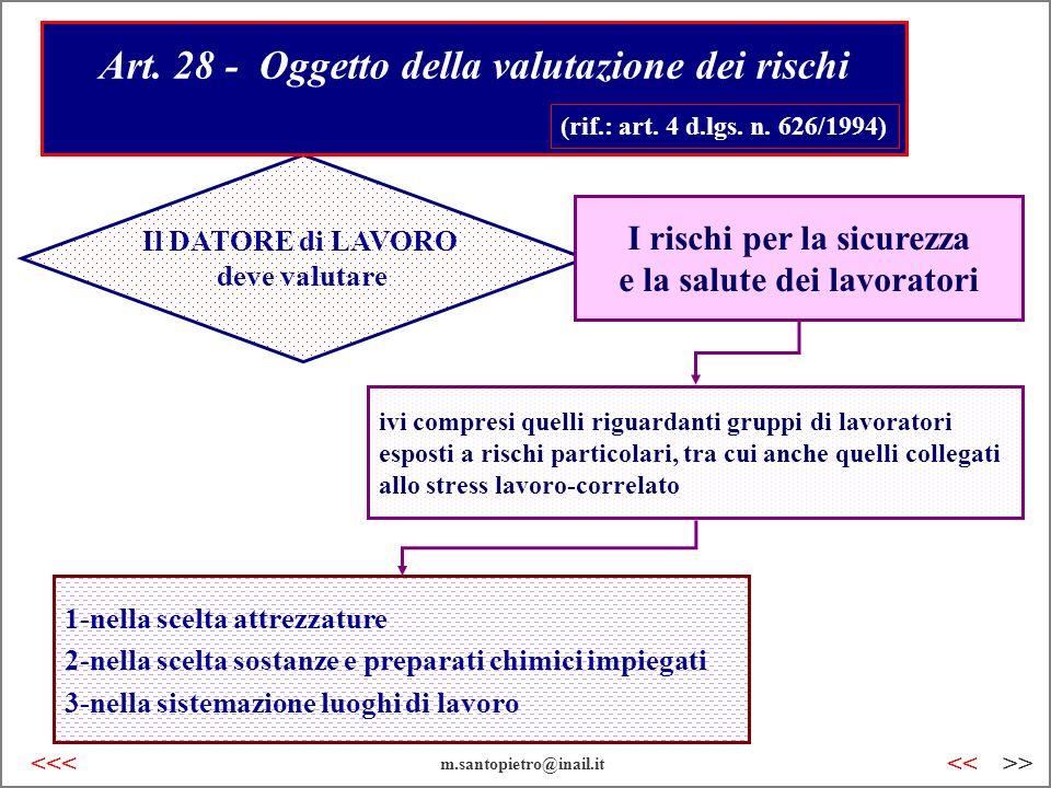 Art. 28 - Oggetto della valutazione dei rischi