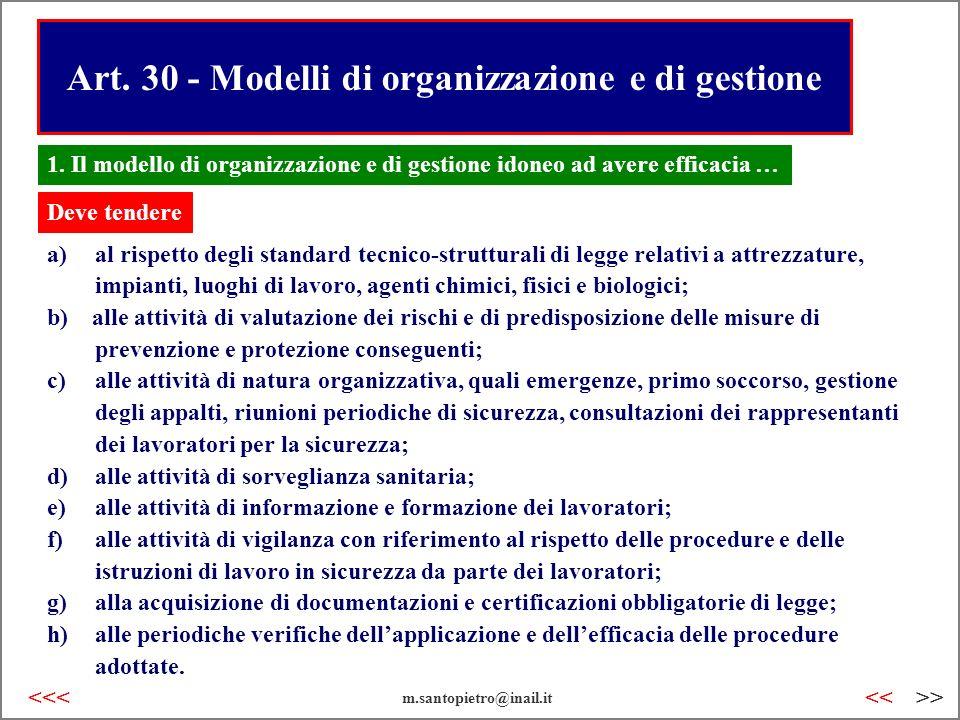 Art. 30 - Modelli di organizzazione e di gestione