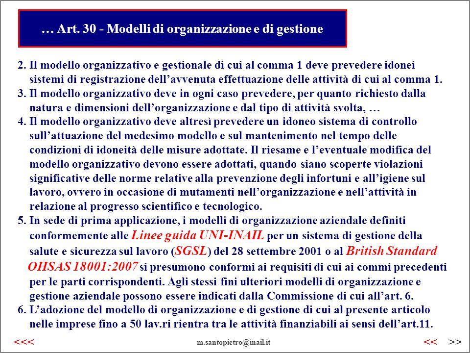 … Art. 30 - Modelli di organizzazione e di gestione