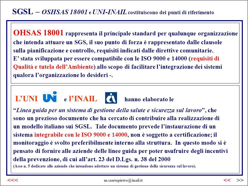 SGSL – OSHSAS 18001 e UNI-INAIL costituiscono dei punti di riferimento