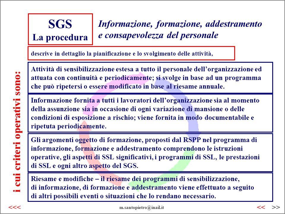 SGS La procedura Informazione, formazione, addestramento