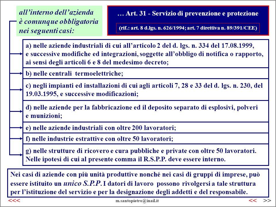 … Art. 31 - Servizio di prevenzione e protezione