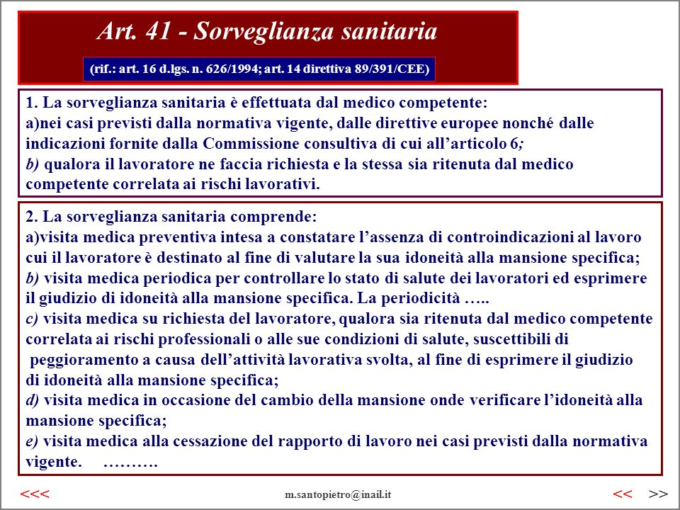 Art. 41 - Sorveglianza sanitaria