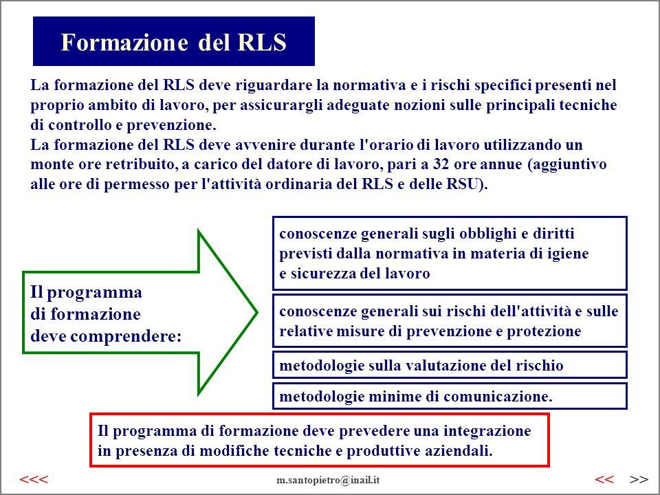 Formazione del RLS Il programma di formazione deve comprendere: