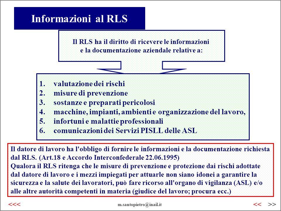 Informazioni al RLS valutazione dei rischi misure di prevenzione