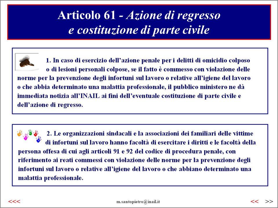 Articolo 61 - Azione di regresso e costituzione di parte civile