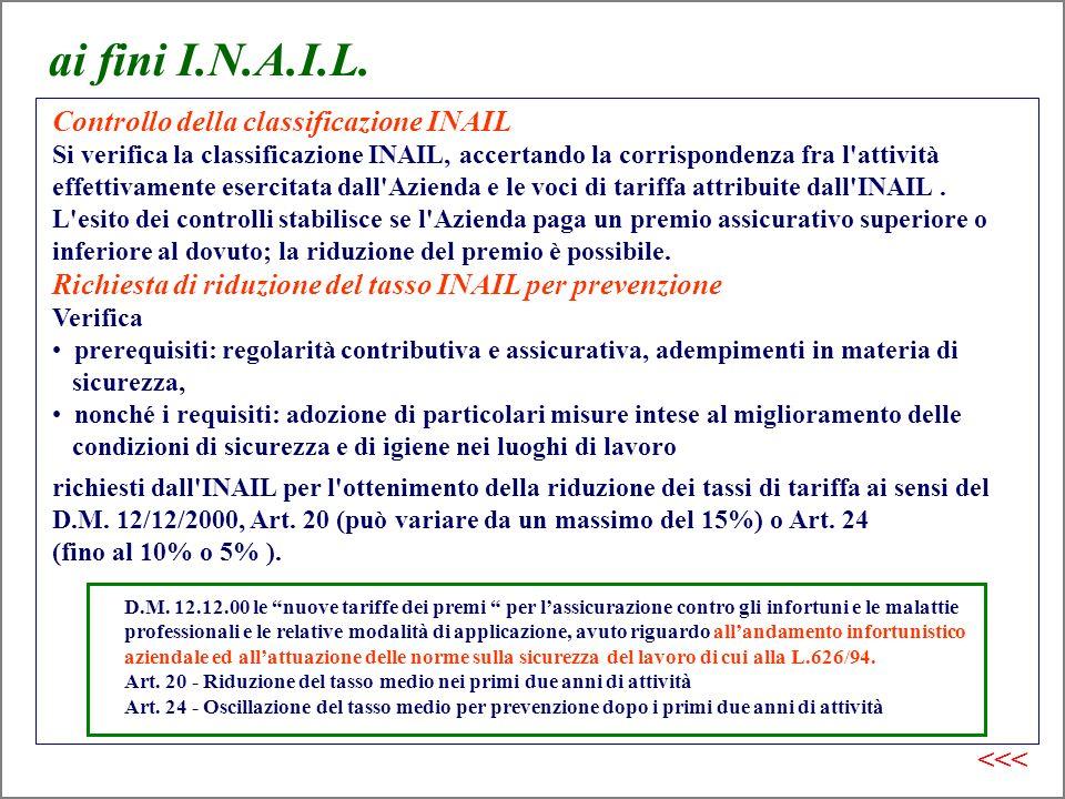 ai fini I.N.A.I.L. Controllo della classificazione INAIL