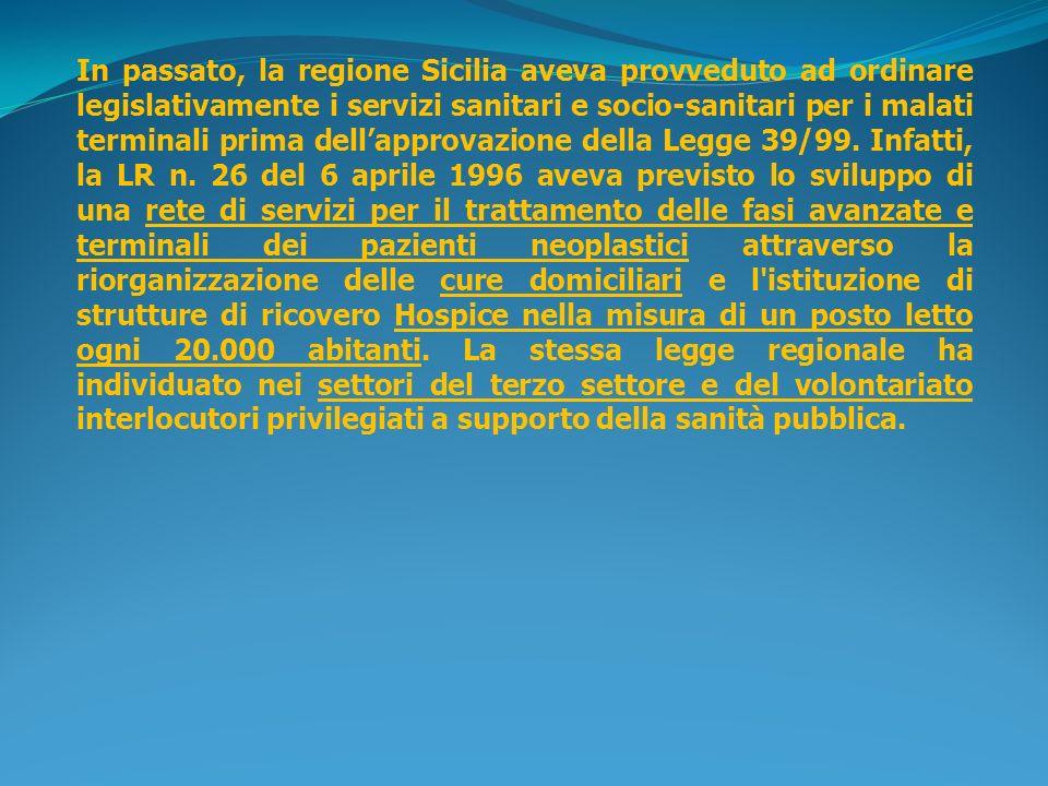 In passato, la regione Sicilia aveva provveduto ad ordinare legislativamente i servizi sanitari e socio-sanitari per i malati terminali prima dell'approvazione della Legge 39/99.