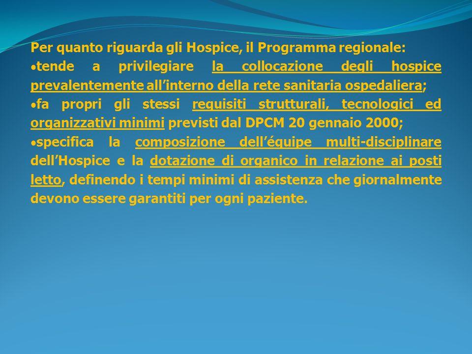 Per quanto riguarda gli Hospice, il Programma regionale: