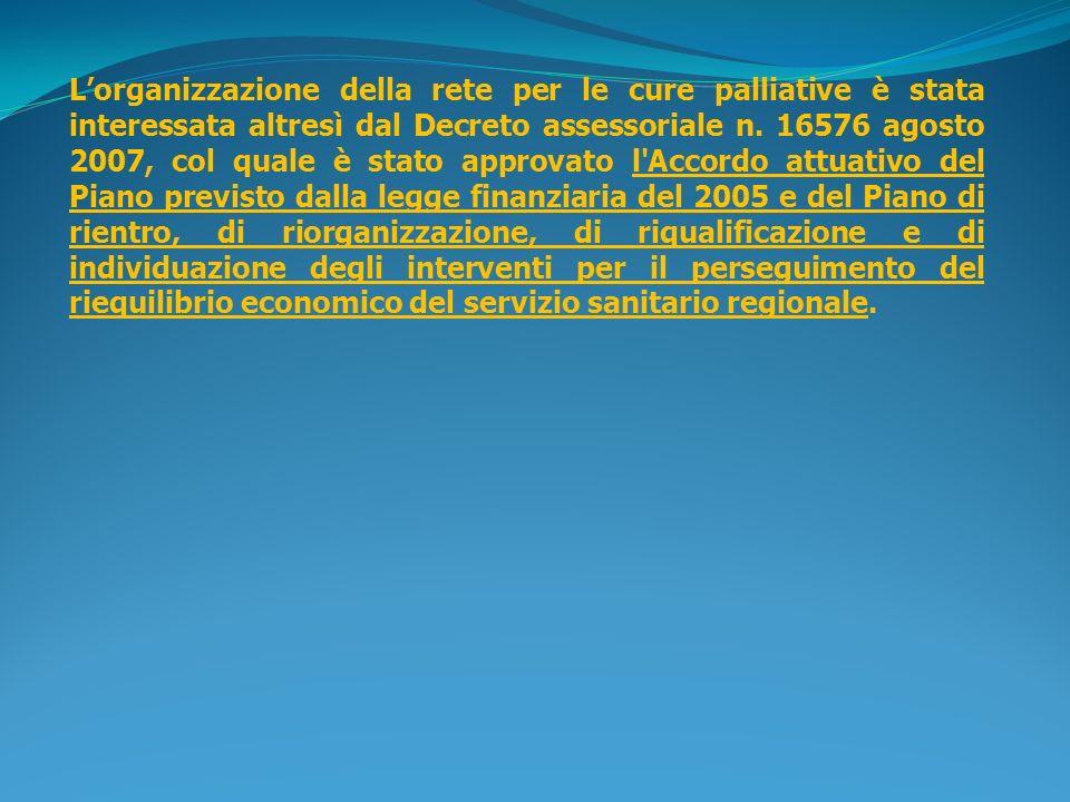 L'organizzazione della rete per le cure palliative è stata interessata altresì dal Decreto assessoriale n.