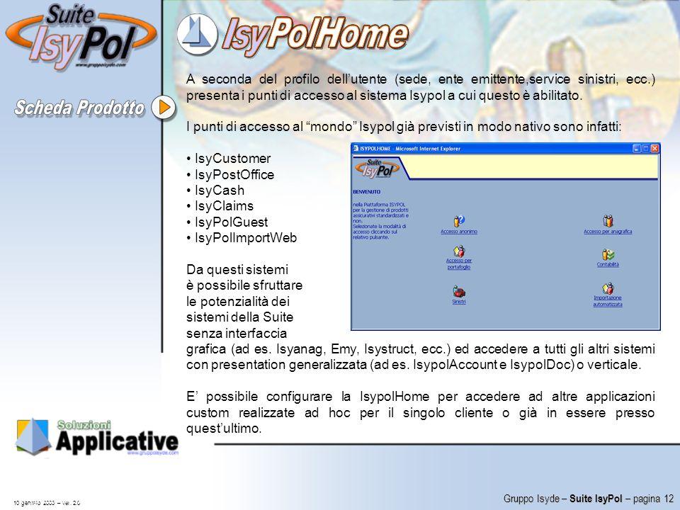A seconda del profilo dell'utente (sede, ente emittente,service sinistri, ecc.) presenta i punti di accesso al sistema Isypol a cui questo è abilitato.