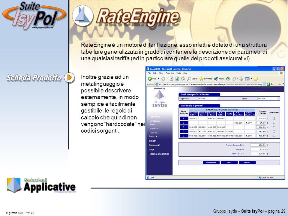 RateEngine è un motore di tariffazione: esso infatti è dotato di una struttura tabellare generalizzata in grado di contenere la descrizione dei parametri di una qualsiasi tariffa (ed in particolare quelle dei prodotti assicurativi).