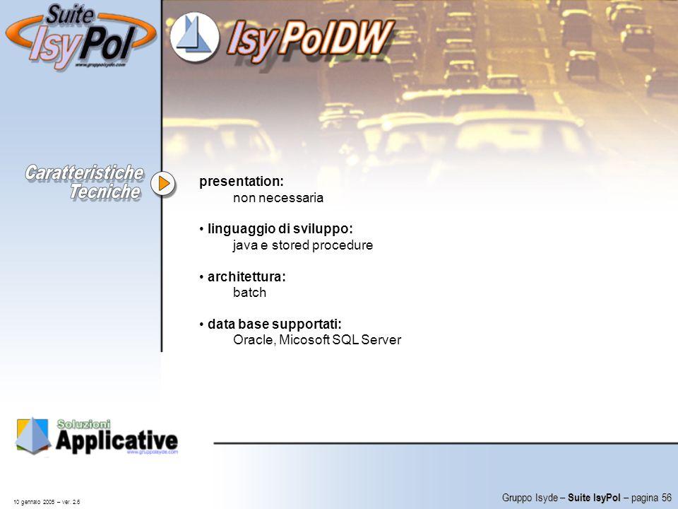 linguaggio di sviluppo: java e stored procedure architettura: batch