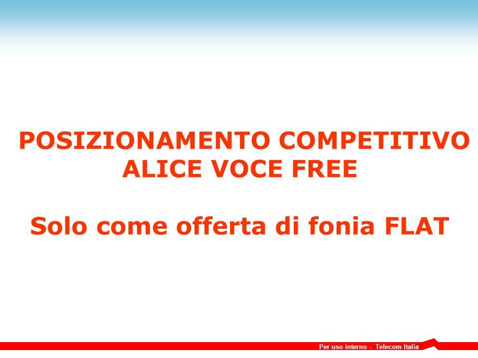 POSIZIONAMENTO COMPETITIVO Solo come offerta di fonia FLAT