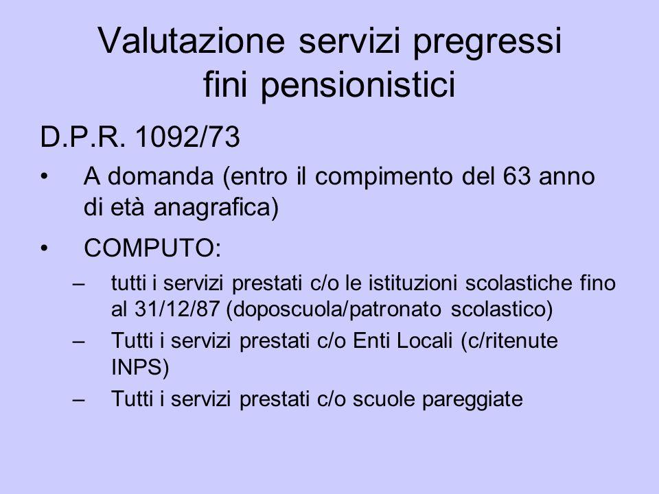 Valutazione servizi pregressi fini pensionistici