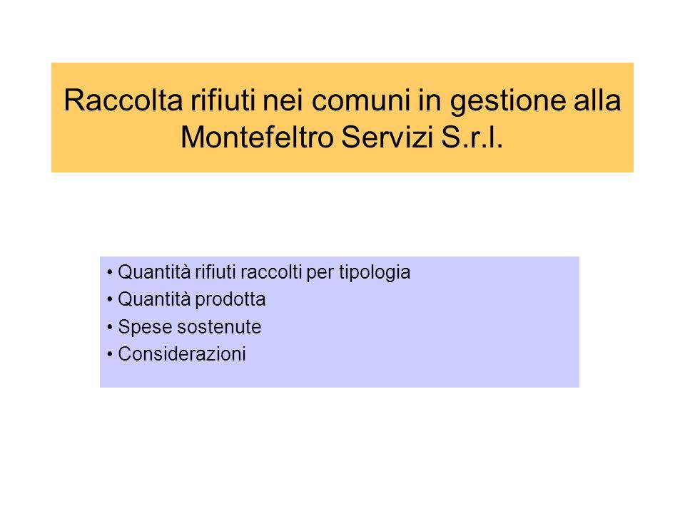 Raccolta rifiuti nei comuni in gestione alla Montefeltro Servizi S. r