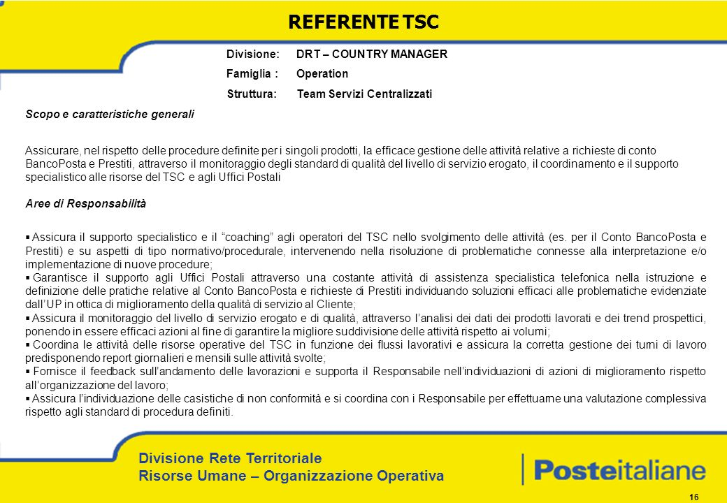 REFERENTE TSC Divisione: DRT – COUNTRY MANAGER Famiglia : Operation