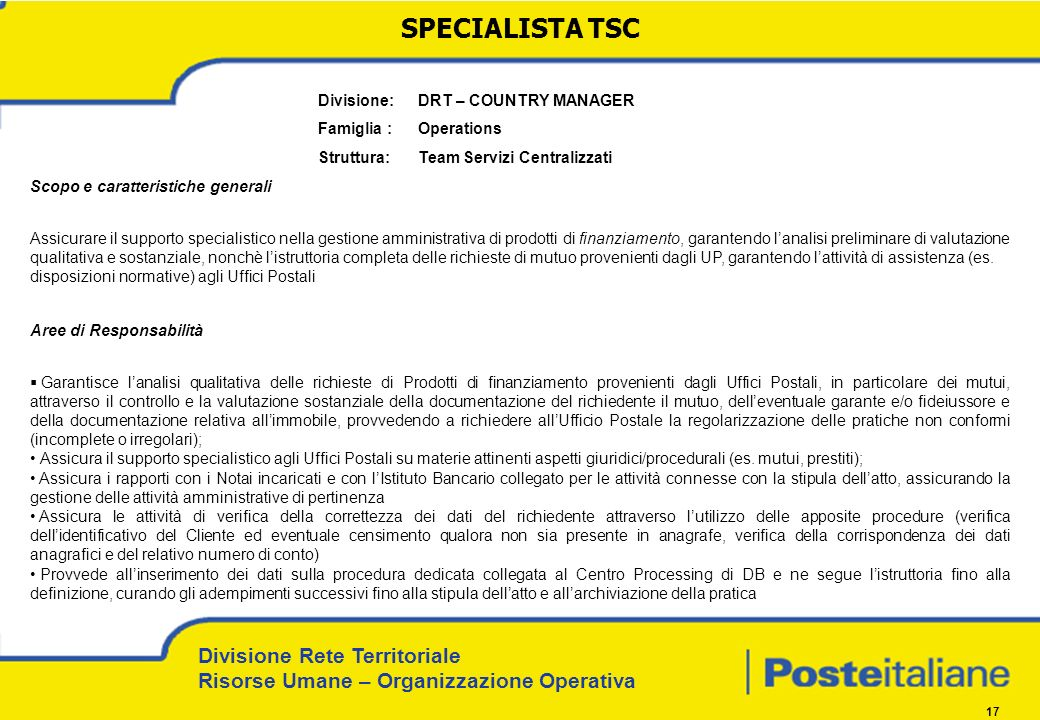 SPECIALISTA TSC Divisione: DRT – COUNTRY MANAGER Famiglia : Operations