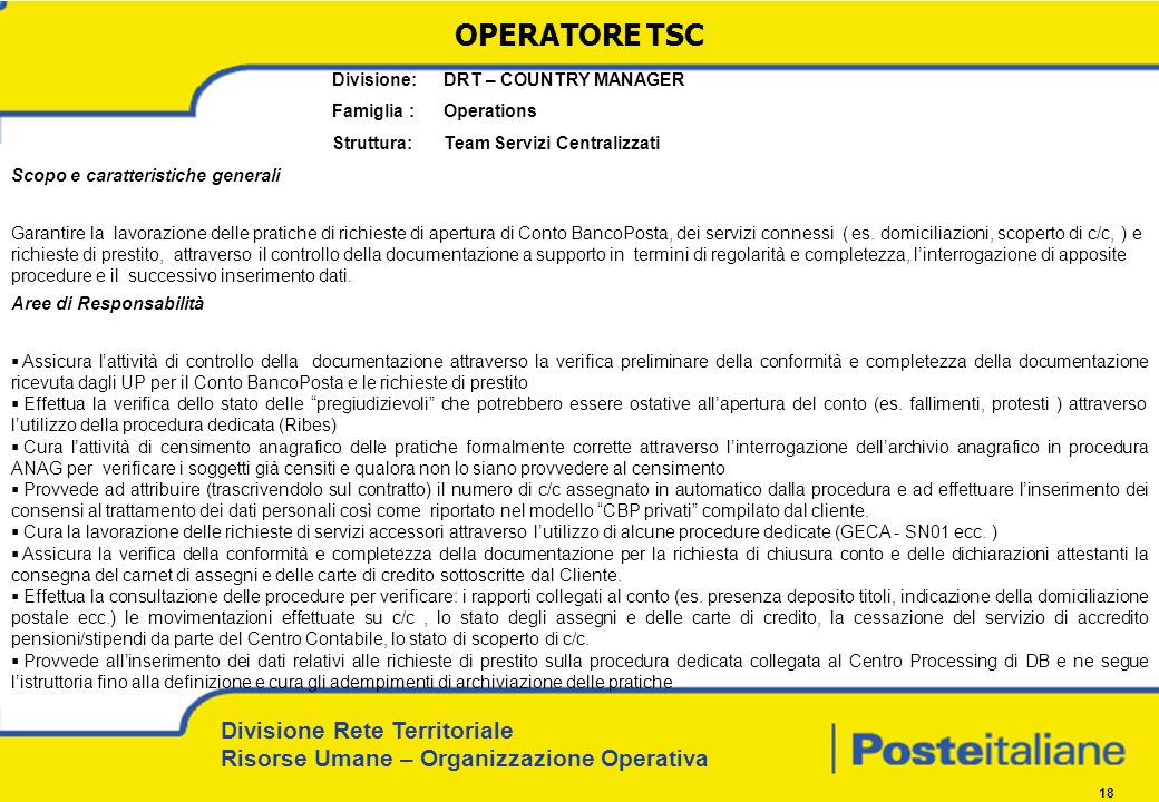 OPERATORE TSC Divisione: DRT – COUNTRY MANAGER Famiglia : Operations