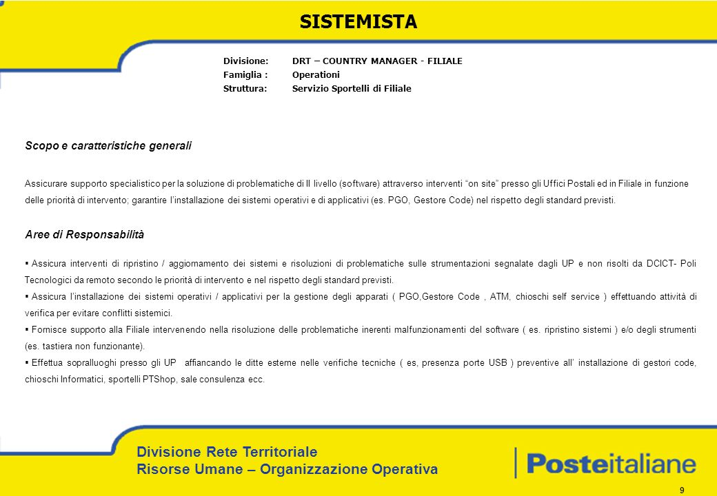 SISTEMISTA Divisione: DRT – COUNTRY MANAGER - FILIALE