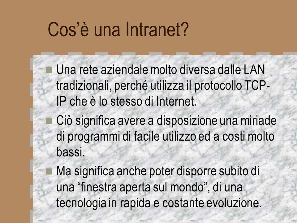 Cos'è una Intranet Una rete aziendale molto diversa dalle LAN tradizionali, perché utilizza il protocollo TCP-IP che è lo stesso di Internet.