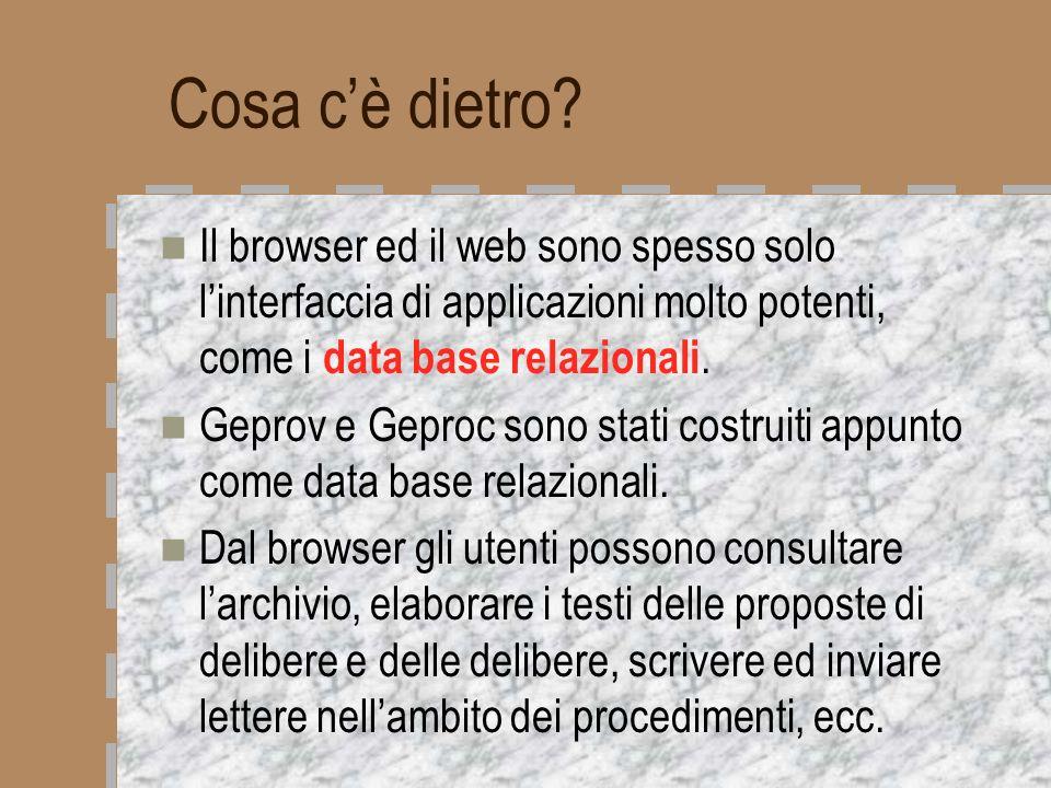 Cosa c'è dietro Il browser ed il web sono spesso solo l'interfaccia di applicazioni molto potenti, come i data base relazionali.