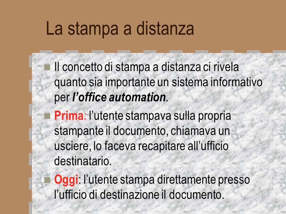 La stampa a distanza Il concetto di stampa a distanza ci rivela quanto sia importante un sistema informativo per l'office automation.