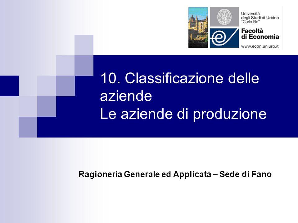 10. Classificazione delle aziende Le aziende di produzione