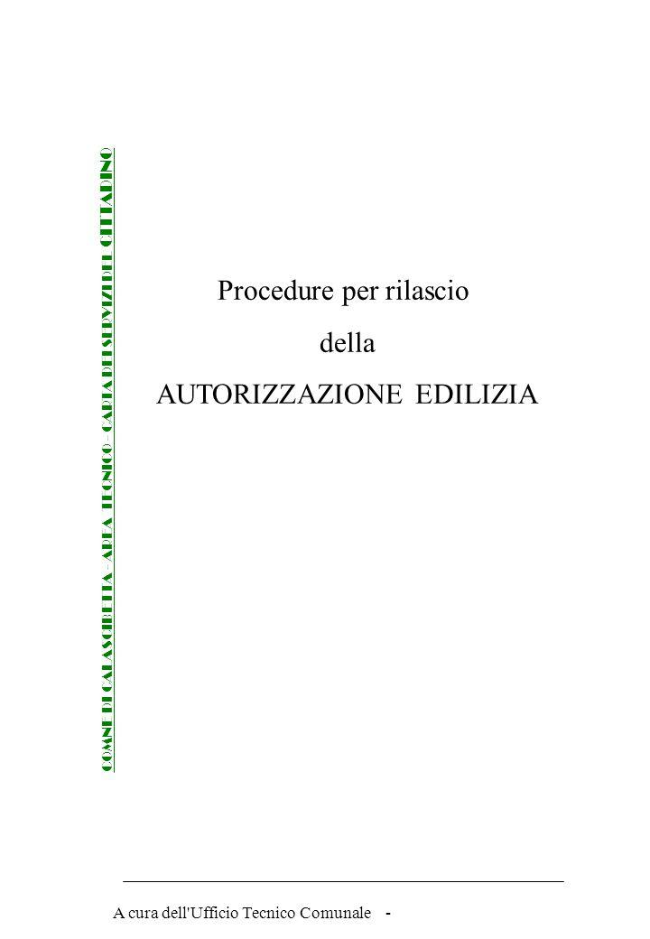 Procedure per rilascio della AUTORIZZAZIONE EDILIZIA