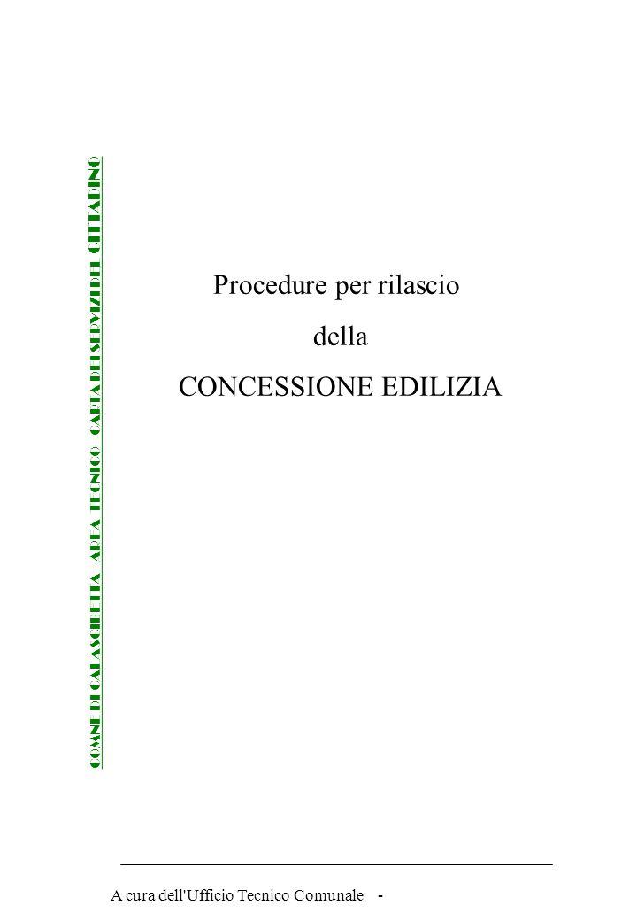 Procedure per rilascio della CONCESSIONE EDILIZIA